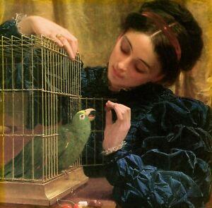 Art Print 19th century Lady VICTORIAN WOMAN Feeding Parrot Pet Bird Portrait