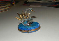 AUTHENTIC LIMOGES BOX clear glass swan golden goose crystal  france