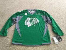 Duncan Keith Reebok Blackhawks St. Patricks Day Practice Jersey- Men's Size S
