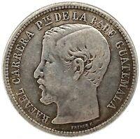 Guatemala 1865 R ( Large R)  Peso 0.903 Silver Coin KM#182 Rare!