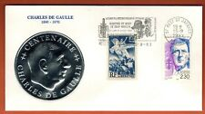 1993-France Fdc-General de Gaulle-Flamme Moulin-Médaillon Argent - Yt.669/2634