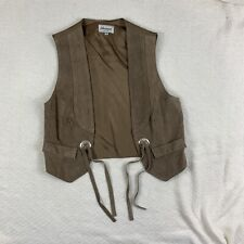 harmal new york leather suit vest southern/western style tassels brown size: M