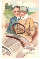 LOT: 7 VINTAGE SUZANNE MEUNIER ART POSTCARDS ROMANTIC GENTS & LADIES IN OLD CARS