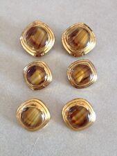 6 Vintage Mid Century Brown Glass Bright Brass Goldtone Shank Buttons 2cm 1.5cm