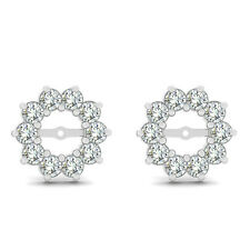 0.60 Carat G-H Round Diamond Solitaire Stud Earring Jackets Halo 14K White Gold
