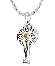 1.5in 925 Plata de Ley Irlandés Nudo Celta Citrino Nacimiento Colgante Collar