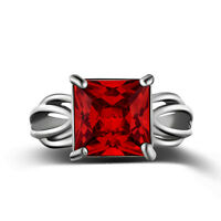 Vintage Women White Gold Filled Square Red Crystal Ruby Vampire Ring Size 6-9