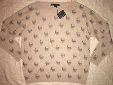 $ 345 NEW ! NWT SKULL CASHMERE Jolie Skull Print Cashmere Sweater Camel Size S