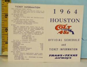 1964 Houston Colt .45s Baseball Schedule Trans Texas Airways Ultra Rare!!!