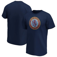 Aston Villa Men's T-Shirt Distressed Retro Logo T-Shirt - Navy - New