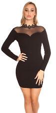 BLACK LACE BLING CHOKER FLORAL jumperdress long sleeve DRESS 8 10 12