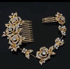 Bridesmaid Bridal Vintage Style Gold Leaf Austrian Crystal Hair Comb Tiara