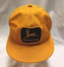 Vtg Rare Gold/Yellow John Deere Lg Patch Mesh Snapback Trucker Hat K~Brand USA