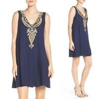 NWT Lilly Pulitzer Owen Embroidered Trapeze Dress True Blue Size Small