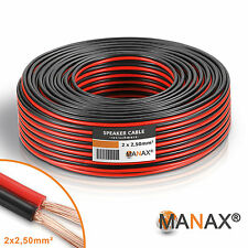 50m (2x 25m) Zwillingslitze 2x 2,5mm² Kabel rot/schwarz 2-adrig