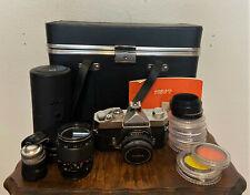 Konica Autoreflex T 35mm Film Camera, Hexanon AR 40mm f 1.8 Lens,Case, Filters++