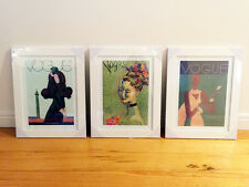 3 x Vintage Vogue Covers Green Emerald Framed Replica Poster Prints Art A3 White