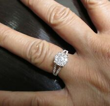 SUMMER SALE 18K WHITE GOLD 0.60CT DIAMOND FLOWER RING (STAMPED) SIZE 5.25