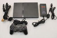 Sony PS2 SCPH-70000 Black Slim Console Cont AC AV Bundle Japan Import 2PC88
