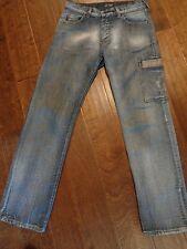 Men's AJ Armani Classic Distressed Wash Indigo 008 Series 29X32 Snap Fly  BR11