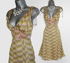 Karen Millen Chevron Print Silk Low V Neckline Sequined Waist Party Dress UK 10