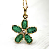 """Natural Emerald Diamond Pendant 18k Solid Yellow Gold Pendant With 18"""" Chain"""