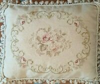 Needlepoint Pillow Vintage Aubusson French Country Floral Wool Petit Point