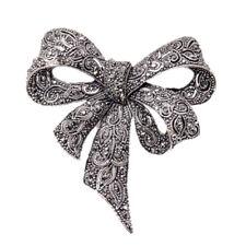 Vintage Rhinestone Bow Brooches for Women Black Bowknot Brooch Pin Fashion U2T5