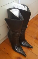 SACHI Calf Knee High Pull On Boots Black Patent Leather Heel Size 8.5 B4