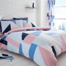 SYDNEY BLUE / PINK GEOMETRIC DOUBLE DUVET COVER & PILLOWCASE SET BEDDING