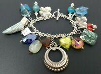 "Vintage Sterling Silver 925 Charm Bracelet 7"" 17 charms"