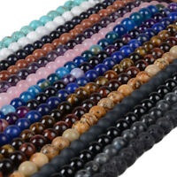 4 6 8 10mm Lot Bulk Natural Stone Lava Loose Beads DIY Bracelet Jewelry Necklace