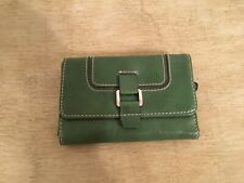Nine West Green Tri-fold Small Wallet, Silver Hardware, GUC