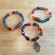 Bracelets, rainbow statement bracelets Three Colorful Glass Beaded Stretch