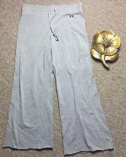 Burberry London Women Grey Tie Waist Crop Length Lounge Pant Logo Tag Sz L