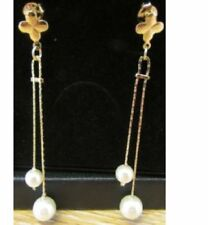 Pendientes de joyería con perlas de oro blanco perla