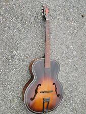 Vintage '44 Harmony USA Pinstripe Archtop Guitar & Kluson Tuners ! WW-II Piece !