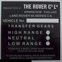 Land Rover Series 2a Bulkhead Gear/Transfer Box Information vin id Plate 88
