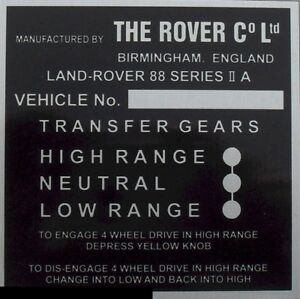 Land Rover Series 2a Bulkhead Transfer GEARS  BLANK-VIN-CHASSIS-PLATES BEST BUY