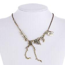 Gold Jurassic Dinosaur Necklace Bones T-Rex Skeleton Trend Jewellery Fashion