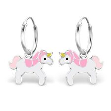 925 Sterling Silver Magical Unicorn Hoop Earrings Pink & White Cute Gift #2