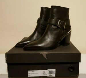 Tony Bianco Sanya Black Como Leather Pointed Toe Ankle Boots Size 7