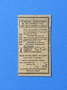 Vintage Original 1935 Indianapolis Indy 500 Ticket Stub General Admission