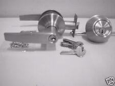 Entrance lever  handle & deadlock   50W Satin chrome