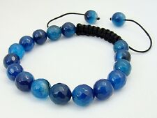 Men's Shamballa bracelet all 10mm  NATURAL BLUE AGATE stone beads lace agat