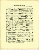 Vintage YALE UNIVERSITY song sheet - 'ALMA MATER'- c 1906 NEW HAVEN CONN. music