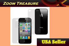 NEW Front & Back Glossy Clear Screen Protector Film for Apple iPhone 4 4s