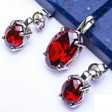 """GIFT! Garnet .925 Sterling Silver Pendant & Earrings Set .5"""""""