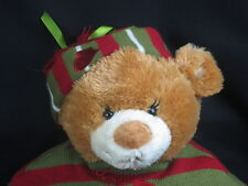Mary Myers Christmas Teddy Bear Green And Red Tape Hat Mittens Plush Stuffed