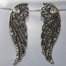 Grey Angel Wings Silver Crystal Big Stud Statement Earrings UK